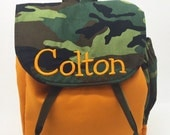 Camo and orange Toddler backpack - camo backpack - personalized