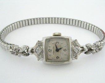 Antique Hamilton Diamond Watch - 14K White Gold