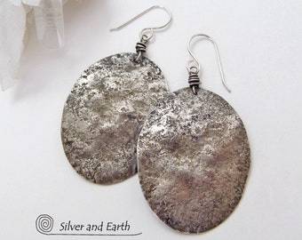 Large Sterling Silver Earrings, Oxidized Solid Silver Earrings, Everyday Earrings, Artisan Handmade Urban Contemporary Modern Silver Jewelry