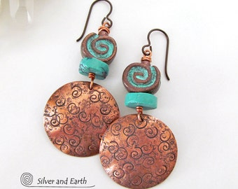 Turquoise & Copper Earrings, Verdigris Earrings, Turquoise Patina Earrings, Spiral Earrings, Handmade Copper Jewelry, Boho Chic Jewelry
