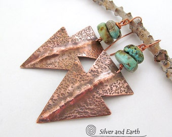 Arrowhead Earrings, Turquoise & Copper Earrings, Handmade Bold Sculptural Metal Jewelry, Tribal Southwestern Earrings, Arrowhead Jewelry