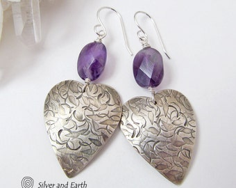 Amethyst Sterling Silver Earrings, Silver Heart Earring, Amethyst Jewelry, Purple Earrings, Silver Anniversary Gift, Handmade Silver Jewelry