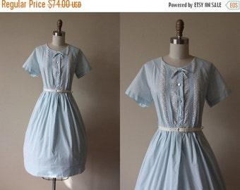 ON SALE 50s Dress - Vintage 1950s Dress - Pale Blue Cotton Pintucked Crochet Full Skirt Shirt Dress L - Treehouse Dress