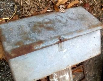 Antique Farm Galvanized Tin Mailbox