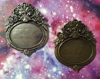 Vintage Design Rococo Settings 30x40mm, set of 2. One Antique Silver, one Antique Brass.