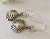 Earrings-Scallop Shell Short Drop Dangle Earrings-Zamak Greek Cast-Pewter-Sterling Silver Wires-Beach-Summer-Boho Jewelry-Sea Shell-For Her