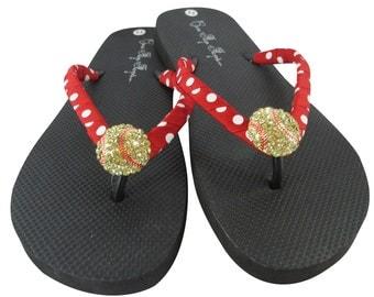 Red & White Dot Softball Bling Flip Flops -Design your own flip flop color, heel height, ribbon and bling