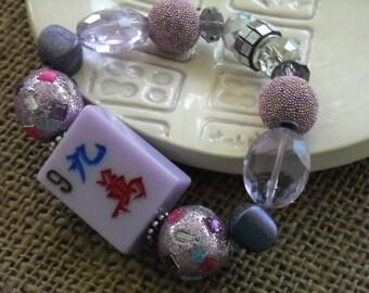 Lavender Mahjong Bracelet - Jesse James Beaded Bracelet  - Mah jong Jewelry - Oriental Jewelry