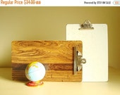 Vintage clipboard, choose 9 x 15 faux woodgrain or 9 x 13 white & gold sparkle melamine, note and photo holder, mid-century office accessory
