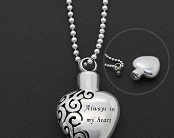 Cremation Necklace - Ashes Jewelry - Always In My Heart - Ashes Holder - Urn Jar - Cremation Locket - Urn Necklace