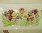 Real Pansies!  Ceramic-Watercolor XXL Wall Hanging sculpture by Faith Ann Originals