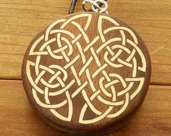Walnut Locket with Celtic Knots