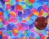 "Fabric Destash Bright Abstract Rainbow Print 35""x42"""