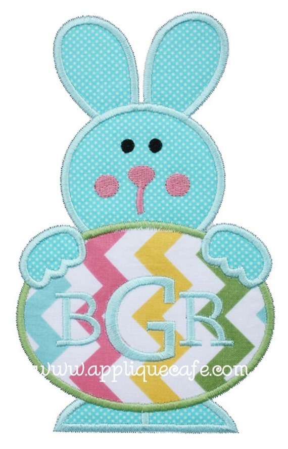 Easter egg bunny machine embroidery applique design