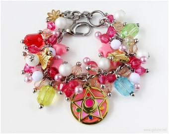 Sailor Moon Crystal Star Compact Charm Bracelet, Stainless Steel Chain, Magical Girl, Anime Jewelry, Cosplay, OOAK