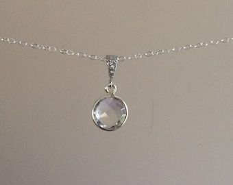 Clear quartz Necklace in sterling silver with Pave