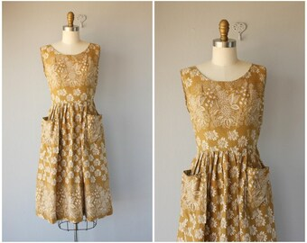 Vintage 1950s Mustard Yellow Day Dress | 50s Dress | 1950s Dress | 50s Day Dress | 1950s Cotton Dress | Border Print Dress