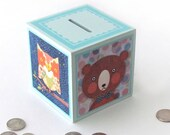 Coin Bank Animals - Bear, Owl, Elephant and Cat savings Bank - Animal Illustrations by Walter Silva - Coin bank Cube