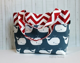 READY TO SHIP - Navy Whales with Red Chevron Nautical Tote Bag /  Diaper Tote /  Medium Bag