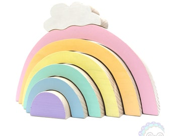 rainbow stacker with cloud, pastel rainbow stacking toy, jumbo rainbow stacker