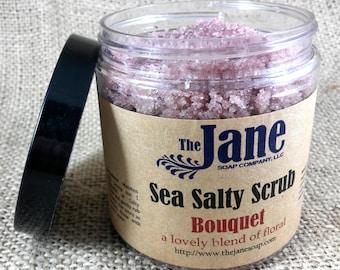 Bouquet Sea Salt Body Scrub - Essential Oil - Vegan Friendly - Relaxing Bath Scrub - 12oz
