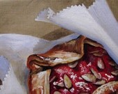 Strawberry Almond Galette - original daily painting by Kellie Marian Hill