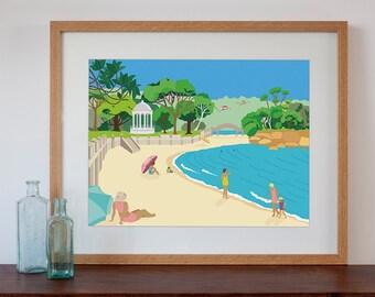 Modern Retro Art Print of Balmoral Beach, Sydney, Australia