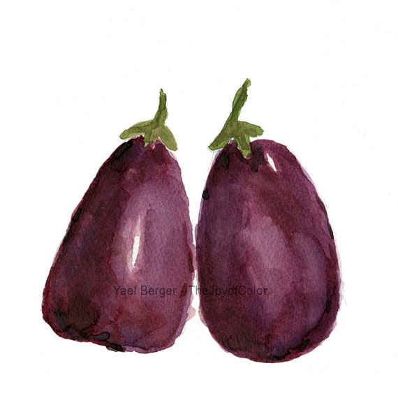 Purple Eggplant Aubergine Kitchen Wall Decor Poster: Art Print Two Eggplants Eggplants Watercolor By TheJoyofColor