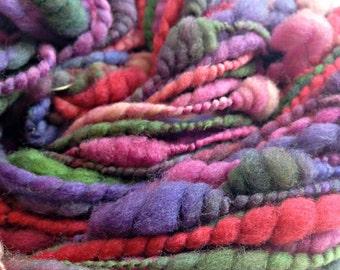 handspun yarn Beehive Coils ART YARN Fair Maiden Merino Wool handspun artyarn 93 yards purple lavender pink spring green olive green