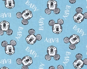Mickey Mouse Disney Nursery Fabric - 100% Cotton - Oh Boy Toss - By the Yard