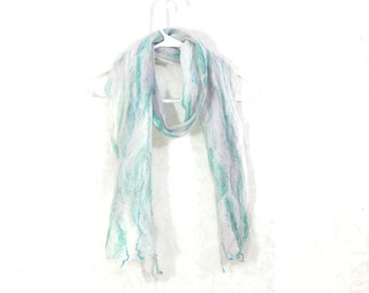 Cobweb Felted Scarf Wool Scarf Winter Scarf Fall Scarf Womens Scarf Lightweight Scarf Gift for Mom White Gray Mint Aqua TAFA OOAK Under 50