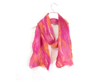 Cobweb Felted Scarf Wool Scarf Winter Scarf Gift for Her Fall Scarf Winter Accessory Pink Scarf Womens Scarf in Pink Orange Rose OOAK