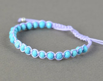 Turquoise macrame woven bracelet