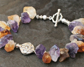 Citrine and amethyst , quartz bracelet, silver plated metal, mixed stone bracelet, chunky bracelet, raw stone, raw beads, dangle beads