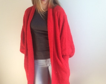 80s Duster, Long Cardigan, Red Chunky Cardigan, Boucle Cardigan, Oversize Cardigan Sweater, Long Sweater Large XL Plus Size
