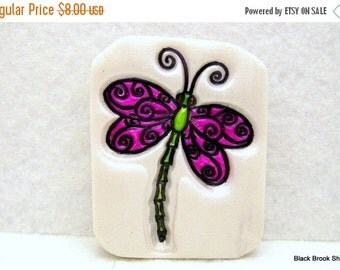 Christmas in July SALE Pink Dragonfly Magnet