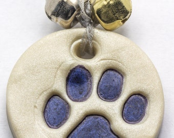 Sale / On Sale / Clearance Jewelry / Jewelry on Sale / Marked Down / Precious Paw Print Ornament - Navy Blue - OR00033