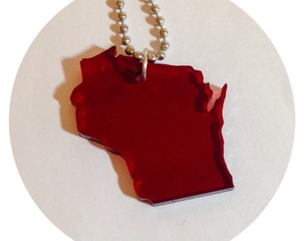 Wisconsin Necklace, State Jewelry in See Thru Dark Red Acrylic Plastic