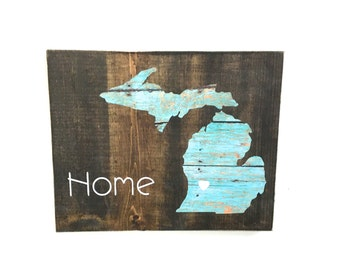 home sign, wooden state sign, rustic state sign, reclaimed wood, wedding gift, home decor, Michigan sign, home state sign, rustic Michigan