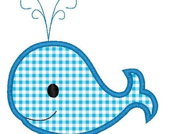 Boy Whale Machine Embroidery Applique Design - INSTANT DOWNLOAD