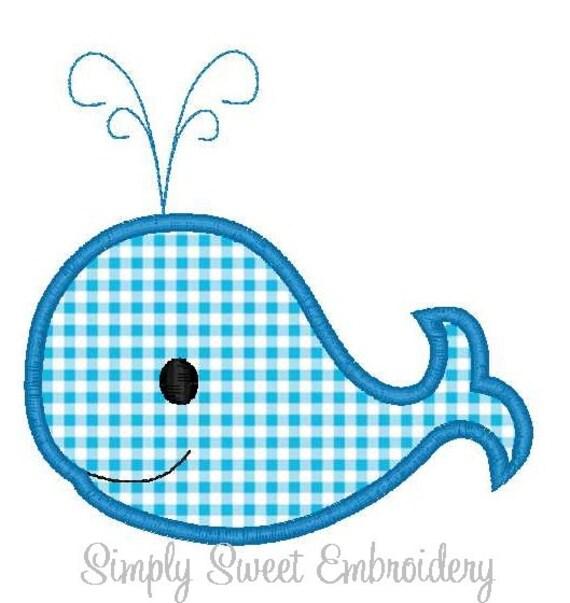 Boy Whale Machine Embroidery Applique Design - INSTANT DOWNLOAD