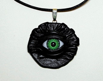 Black leather necklace with evil eye.  halloween necklace .  Horror necklace.  Eye pendant. Wicked Fashion. LARP
