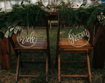 Bride and Groom Wreath Chair Signs | wooden wedding sign | rustic wedding | bride and groom sign | boho wedding | wedding sign