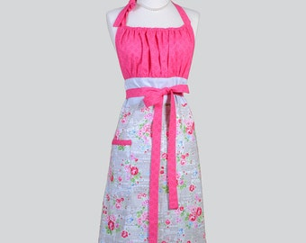 Cute Kitsch Retro Apron / Pam Kitty Fog Silver Gray and Rose Bouquets with Hot Pink Dots Full Womens Kitchen Cooking Chef Apron