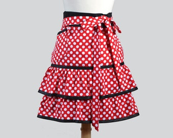 Waist Aprons . Red and White Polka Dot Flirty Ruffled Half Apron for Cooking or as a Hostess Gift