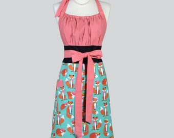 Cute Kitsch , Retro Chef Apron Fabulous Aqua Fox and Pink Houndstooth Kitchen Apron or Ideal Hostess or Housewarming Gift