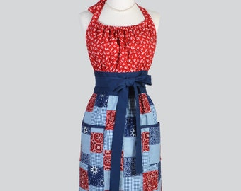 Cute Kitsch Retro Apron / Red and Blue Bandana Cowgirl Handmade Kitchen Chef Cute Womens Apron