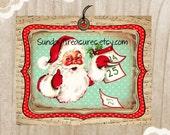3 Red Aqua Santa Tags / Retro Vintage Christmas Santa / Shabby Rustic / Lg Favor Bag Gift Tags Label / Ornament / 3 DayShip (ref-ts)