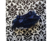 SALE Navy Blue ruffle bum BABY BLOOMER with Satin bow, baby girl bloomer, ruffle bloomer, Newborn bloomer, Cake Smash, photo prop ready to s
