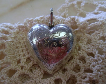Vintage Chunky Sterling Silver Puff Heart Pendant